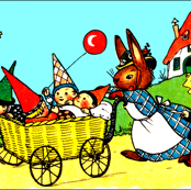 gnomes dwarf elf elves pixies imps strollers baby prams rabbits hares bunny bunnies children flowers houses countryside balloons vintage