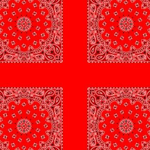 Playscale Bandanna-Paisley Round-Tomato Red With Black and White Pattern