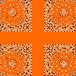Playscale Bandanna-Paisley Round-Safety Orange With Black and White Pattern