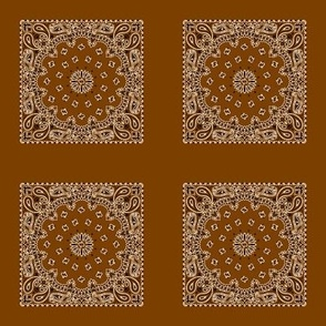 Playscale Bandanna-Paisley Round-Brown With Black and White Pattern