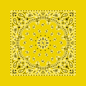 Playscale Bandanna-Paisley Round-Caution Yellow With Black and White Pattern