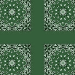 Playscale Bandanna-Paisley Round-Hunter Green With Black and White Pattern