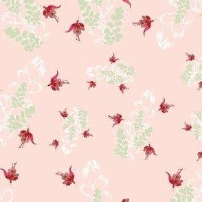 Vintage Floral Fuchsia & Ferns Pink