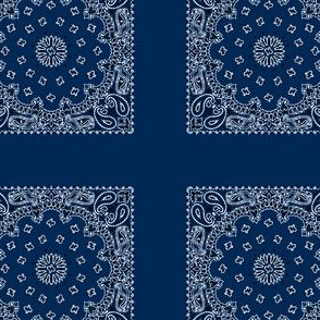 Playscale Bandanna-Paisley Round-Navy Blue With Black and White Pattern