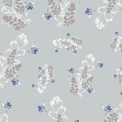 Vintage Floral Fuchsia & Ferns Blue