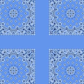 Playscale Bandanna-Paisley Round-Cornflower Blue With Black and White Pattern