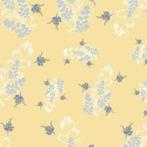Vintage Floral Fuchsia & Ferns Yellow