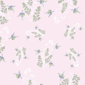 Vintage Floral Fuchsia & Ferns Pale Pink