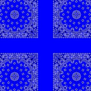 Playscale Bandanna-Paisley Round-Primary Blue With Black and White Pattern
