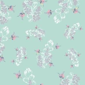 Vintage Floral Fuchsia & Ferns Green