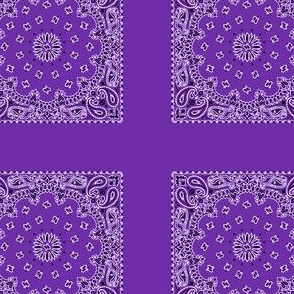 Playscale Bandanna-Paisley Round-Grape With Black and White Pattern