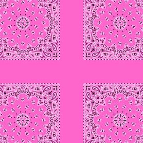 Playscale Bandanna-Paisley Round-Rose Pink With Black and White Pattern