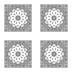 Playscale Bandanna-Paisley Round-White With Black Pattern