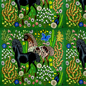 horses flowers leaves birds butterfly butterflies tribal folk art colorful pastures fields pony ponies nature animals