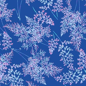 Fancy Ferns in Brights on Navy