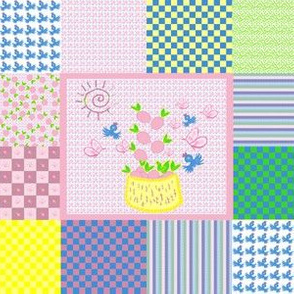 Pink Lemons Cheater Quilt (small)