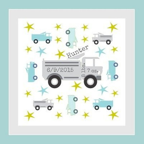 Truck star-gray 2 -HUNTER birth-framed