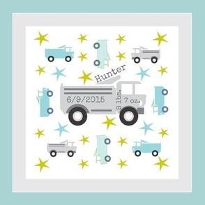 Truck star-gray 2 -HUNTER birth-framed