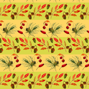 Autumn_seamless_pattern__with_leaves__berries__pine_cones_and_acorns_in_stripes