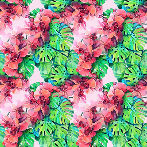 seamless_pattern_element_of_colorful_orchid_flowers_and_leaves_of_monstera