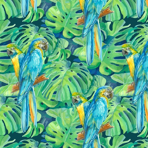 seamless_pattern_element_of_two_ara_parrots_and_leaves_of_monstera