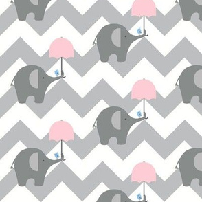 zekie chevron & umbrella/ pink