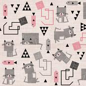 cubist cat pink