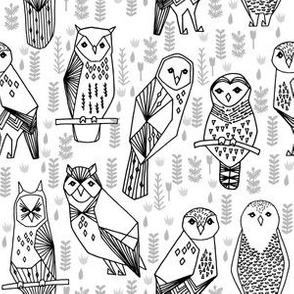 Owls - Black and White  (Smaller Version) by Andrea lauren