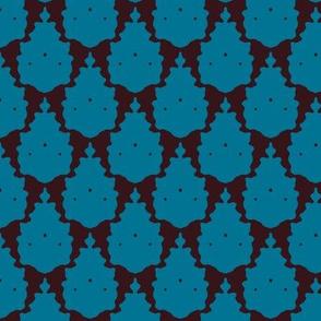 blue choc llama damask
