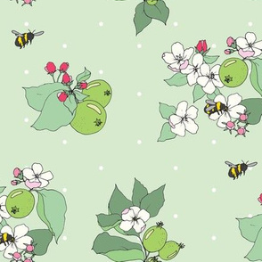 apple blossoms and honey bees simple