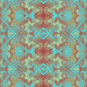Aqua Meets Red (floral vertical stripe)
