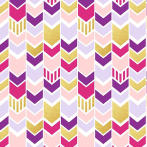 Pink Purple Gold Chevron