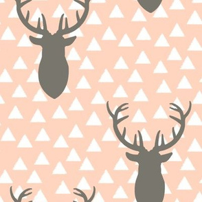 White and Pink and Gray Deer Heads Blush