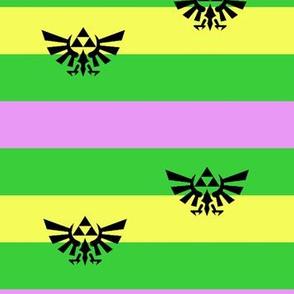 Zelda Triforce Purple, green, and yellow