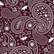 Paisley with butterflies_winered