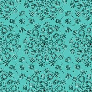 Teal Floral Mandala