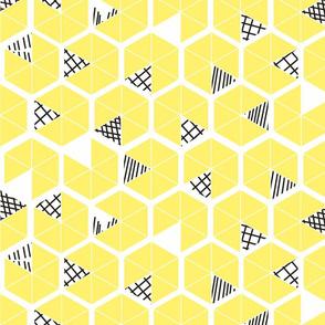 Crowded Geometric umbrellas in lemon