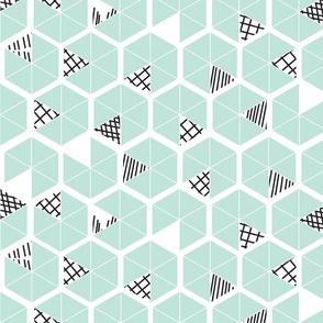 Crowded Geometric umbrellas in mint