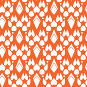 Fox Footprint Damask - White on Burnt Orange