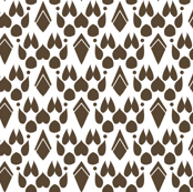 Fox Footprint Damask - Brown on White