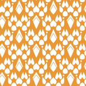 Fox Footprint Damask - White on Pumpkin Orange