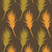 Foxtail - Pumpkin Orange, Green on Brown
