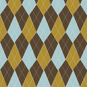 Offbeat Argyle - Brown, Green and Blue