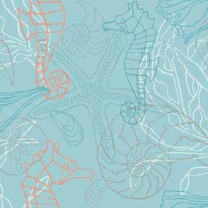 Seahorses & Seashells II