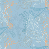 Seahorses & Seashells Blue Tones