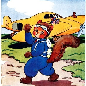 squirrels pilots aviation planes airplanes birds animals vintage retro kitsch whimsical
