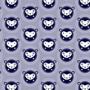 Hedgehog polka dot small - dusky lavender