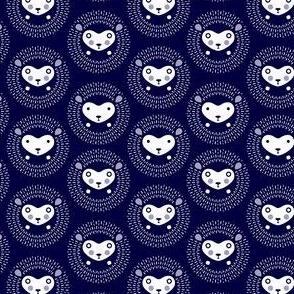 Hedgehog polka dot small - indigo