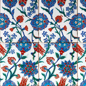 16th Century Turkish Damask Tile ~ Bright Original