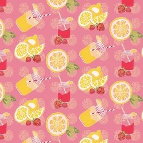 Pink Lemonade/ Lemons/Strawberries/Mason Jars